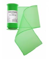 Organza tule strook groen 12 x 300 cm trend