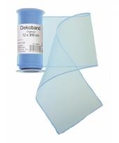 Organza tule strook lichtblauw 12 x 300 cm trend
