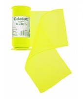 Organza tule strook neon geel 12 x 300 cm trend