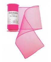 Organza tule strook neon roze 12 x 300 cm trend