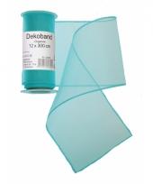 Organza tule strook turquoise 12 x 300 cm trend