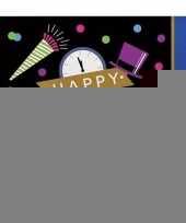 Oud en nieuw servetten zwart blauw happy new year 16 stuks trend