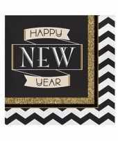 Oud en nieuw servetten zwart goud happy new year 16 stuks trend