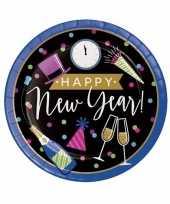 Oud en nieuw wegwerp borden zwart blauw happy new year 8 stuks trend