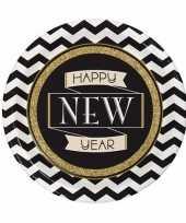 Oud en nieuw wegwerp borden zwart goud happy new year 8 stuks trend