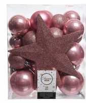 Oud roze kerstballen pakket met piek 33 stuks trend