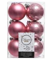 Oud roze kerstversiering kerstballen kunststof 6 cm trend