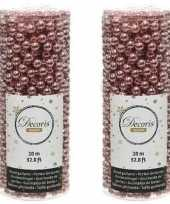 Oud roze kralenslinger kerstslinger 10 mtr 2 stuks trend