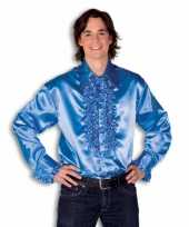 Overhemd blauw met rouches heren trend