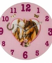 Paard wandklokken roze 33 cm trend