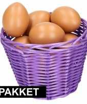 Paars paasmandje met eieren naturel 14 cm trend