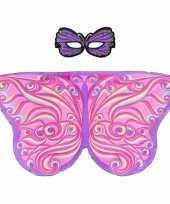 Paars roze fantasievlinder verkleedset voor meisjes trend