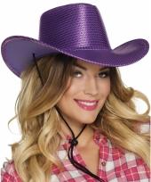 Paarse cowboyhoed howdy pailletten voor volwassenen trend