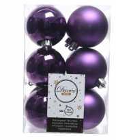 Paarse kerstversiering kerstballen kunststof 6 cm trend