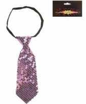 Paarse korte stropdas met pailletten trend