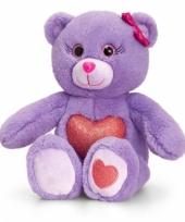 Paarse zittende beer met rood hart 25cm trend