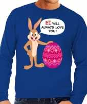 Paas sweater ei will always love you blauw voor heren trend