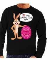 Paas sweater ei will always love you zwart voor heren trend