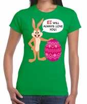 Paas t-shirt ei will always love you groen voor dames trend