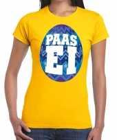 Paasei t-shirt geel met blauw ei voor dames trend