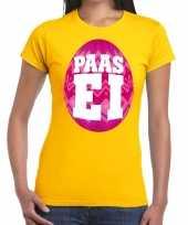 Paasei t-shirt geel met roze ei voor dames trend