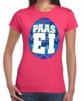 Paasei t-shirt roze met blauw ei voor dames trend
