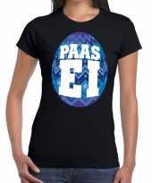 Paasei t-shirt zwart met blauw ei voor dames trend