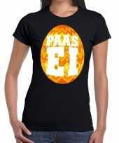 Paasei t-shirt zwart met oranje ei voor dames trend