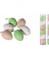Paaseieren roze bloemen 6 stuks trend