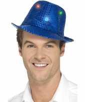 Pailletten hoedje blauw met led lichtjes trend