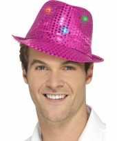 Pailletten hoedje fuchsia roze met led lichtjes trend