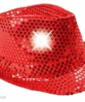 Pailletten hoedje rood met lichtjes trend