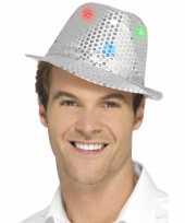 Pailletten hoedje zilver met led lichtjes trend