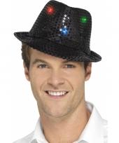 Pailletten hoedje zwart met led lichtjes trend