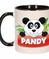 Pandabeer theebeker zwart wit pandy 300 ml trend