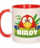 Papegaai theebeker rood wit birdy 300 ml trend