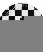 Papieren finish bordjes zwart wit geblokt 6 stuks trend