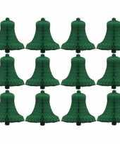 Papieren mini kerstklok 16 cm groen 12 stuks trend