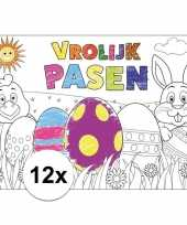 Papieren paas kleurplaat placemats 12 stuks trend