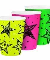 Party bekertjes neon 250 ml trend