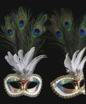 Pauw veren oogmasker handgemaakt trend