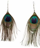 Pauwenveren oorbellen trend