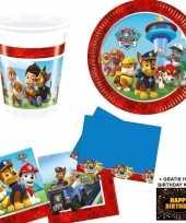 Paw patrol kinderfeestje versiering tafel pakket 8 pers kaart trend