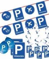 Pensioen met de vut themafeest pakket m blauw verkeersbord trend