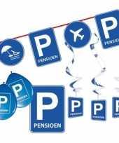 Pensioen met de vut themafeest pakket s blauw verkeersbord trend
