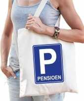 Pensioen p parkeerbord cadeau tas beige voor dames trend