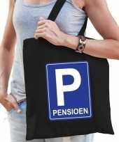 Pensioen p parkeerbord cadeau tas zwart voor dames trend