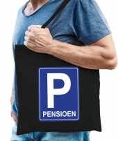 Pensioen p parkeerbord cadeau tas zwart voor heren trend