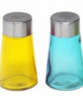 Peper en zout strooiers setje geel blauw trend