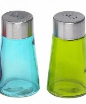 Peper en zout strooiers setje groen blauw trend